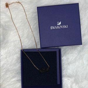 Swarovski gold black swan necklace